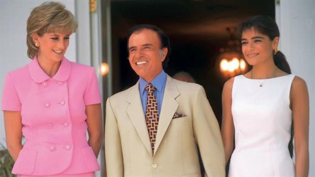 Lady Diana, Carlos Menem y su hija, en Olivos, en noviembre de 1995