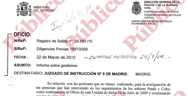 Encabezado del informe final de la UDEF sobre los posicionamientos de los guardias acusados el espionaje en el PP de Madrid.