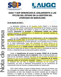 Nota de prensa de SUP y AUGC.