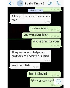 Tercera captura de la conversación entre espías y Younes Abouyaaqoub.