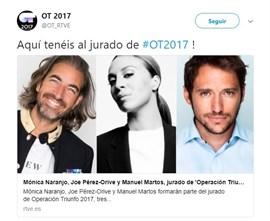 Mónica Naranjo, Joe Pérez-Orive y Manuel Martos, jurado de Operación Triunfo
