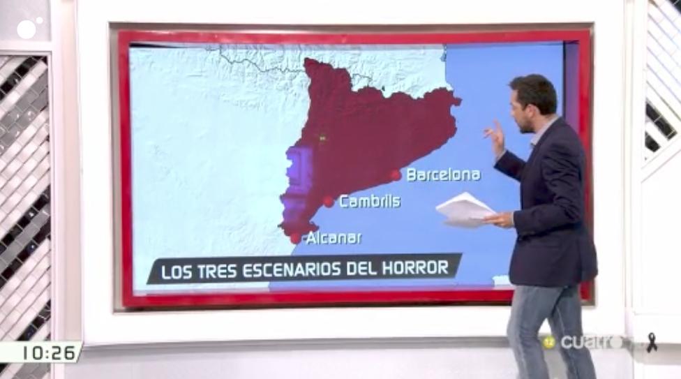 Secuencia con el mapa de Catalunya en 'Las mañanas Cuatro'