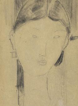 «Retrato de Beatrice Hastings». Dibujo de Modigliani