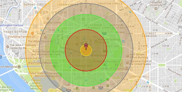 Zona afectada si una bomba nuclear de 20 kilotones cayera sobre Washington DC.