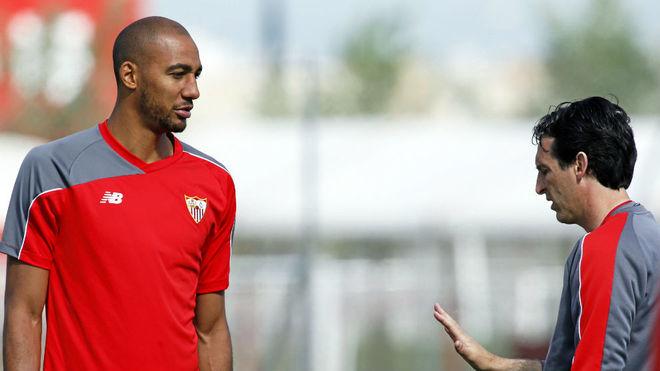 Unai Emery y N'Zonzi, en el Sevilla.