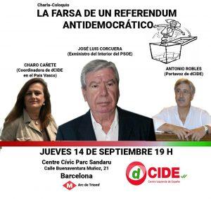 José Luis Corcuera llega a Barcelona para participar en una charla sobre el referéndum ilegal