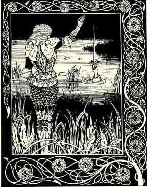 Bedivere lanzando la mítica espada al agua. Ilustración de 1894.