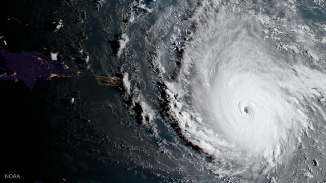 Imagen del huracán Irma (NOAA via AP).