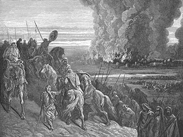 «Y volviendo Josué, tomó en el mismo tiempo a Jasor, y mató a espada a su rey; pues Jasor había sido antes cabeza de todos estos reinos. Y mataron a espada todo cuanto en ella tenía vida, destruyéndolo por completo, sin quedar nada que respirase; y a Jasor pusieron fuego. Asimismo tomó Josué todas las ciudades de aquellos reyes, y a todos los reyes de ellas, y los hirió a filo de espada, y los destruyó, como Moisés siervo de Yahvé lo había mandado». JOSUÉ 11:10-12.