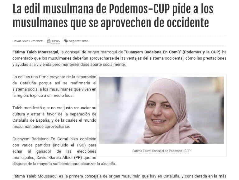 """Fàtima Taleb, es una """"nueva catalana"""" (Nous Catalans), concejala de la coalición separatista del Gobierno municipal de Badalona (Barcelona). Una inmigrante marroquí antiespañola, racista islamista,"""