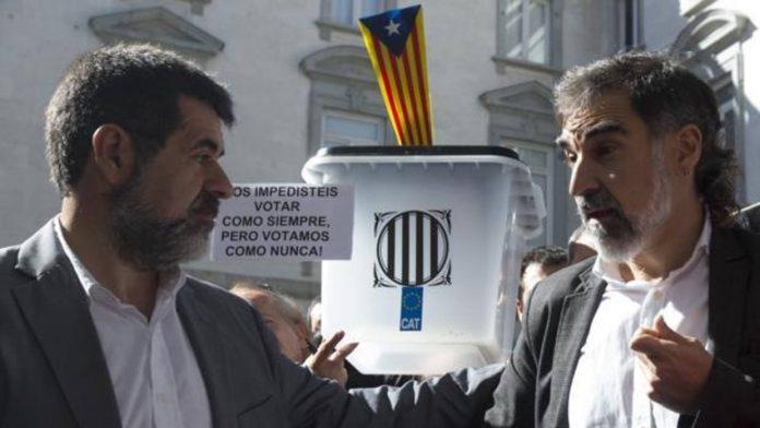 Los presidentes de la Asamblea Nacional Catalana (ANC) y de Òmnium Cultural, Jordi Sànchez y Jordi Cuixart
